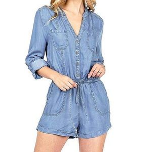 BE COOL Marya Chambray Denim Long Sleeve Romper S